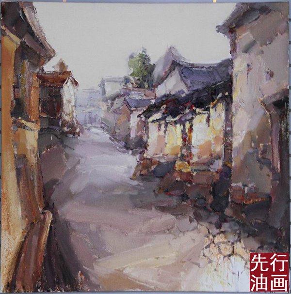 柳江古镇速写_古镇风景油画_风景520