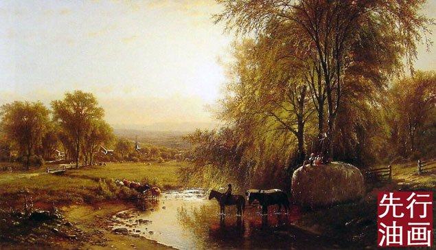 古典风景油画 渡河
