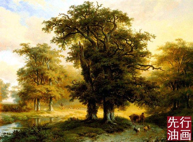 古典风景油画之参天大树
