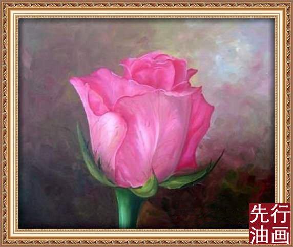 玫瑰花油画 七夕情人节的礼物