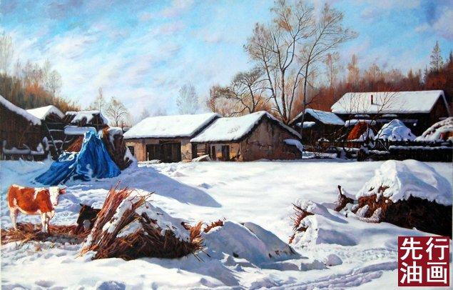雪景宾馆装饰画 - 雪山风景油画 - 先行油画(大芬)